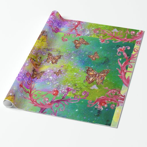 BUTTERFLIES IN GOLD YELLOW PURPLE GREEN SPARKLES GIFT WRAP PAPER