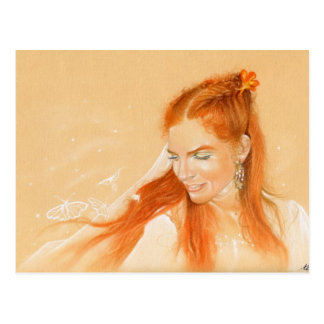 Butterflies in her Hair Fantasy art Postcard