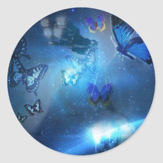 Butterflies in space iPhone4 case Classic Round Sticker