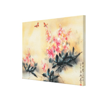 Butterflies in Spring Stretched Canvas Print