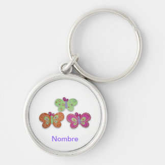 Butterflies Silver-Colored Round Key Ring