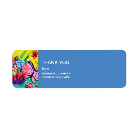 Butterflies & Ladybugs Wedding Thank You Label Return Address Label