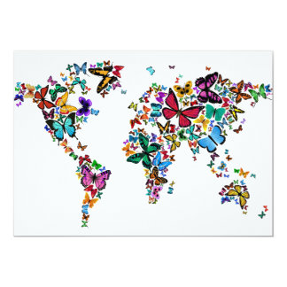 Butterflies Map of the World 13 Cm X 18 Cm Invitation Card