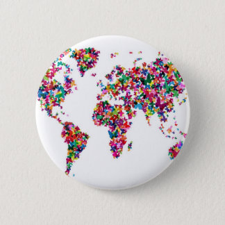 Butterflies Map of the World 6 Cm Round Badge