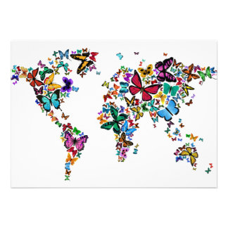Butterflies Map of the World Personalized Announcements
