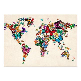 Butterflies Map of the World Invites