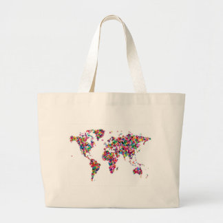 Butterflies Map of the World Large Tote Bag