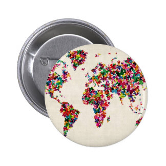 Butterflies Map of the World Map 6 Cm Round Badge