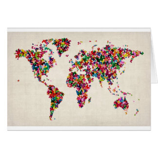 Butterflies Map of the World Map Card