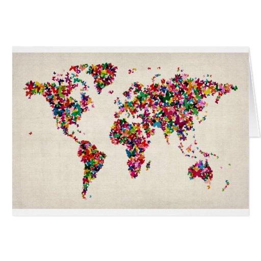 Butterflies Map of the World Map Card