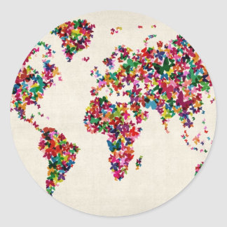 Butterflies Map of the World Map Classic Round Sticker
