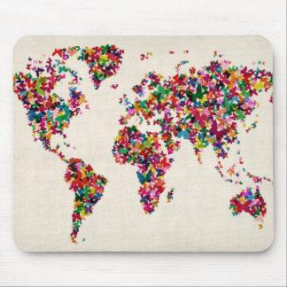 Butterflies Map of the World Map Mouse Mat