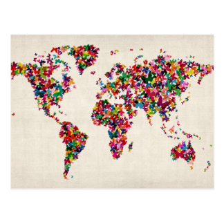 Butterflies Map of the World Map Postcard
