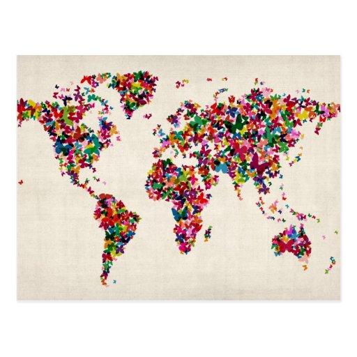 Butterflies Map of the World Map Post Cards