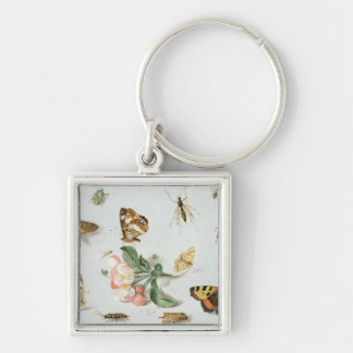 Butterflies, moths and other insects Silver-Colored square key ring
