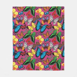 Butterflies of the World (Pink) Fleece Blanket