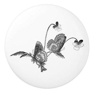 Butterflies on flowers black & white vintage art ceramic knob