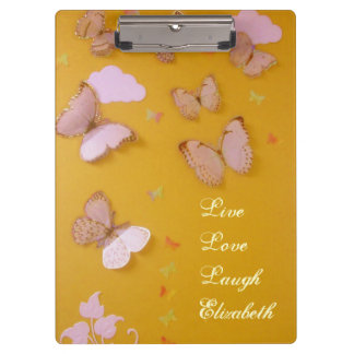 Butterflies on Gold Personalized Clipboard