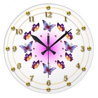 Butterflies on Graduated Cream and Pink Wallclock