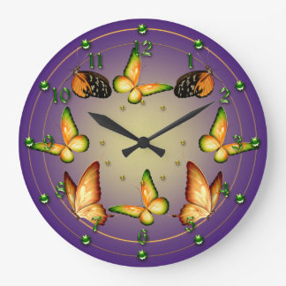 Butterflies on Purple Large Clock