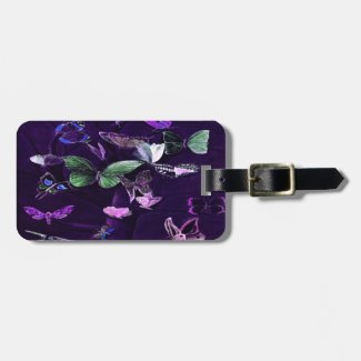 Butterflies On Purple Luggage Tag