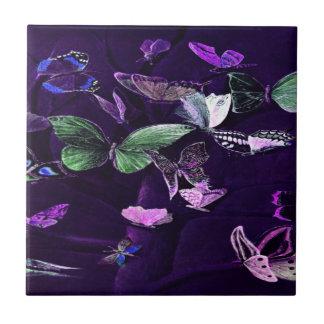 Butterflies On Purple Ceramic Tile