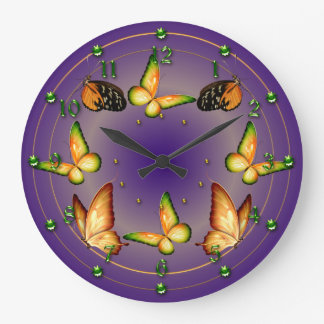 Butterflies on Rich Purple Large Clock
