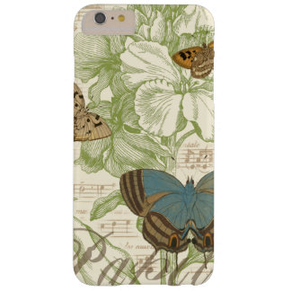 Butterflies on Sheet Music with Floral Design Barely There iPhone 6 Plus Case
