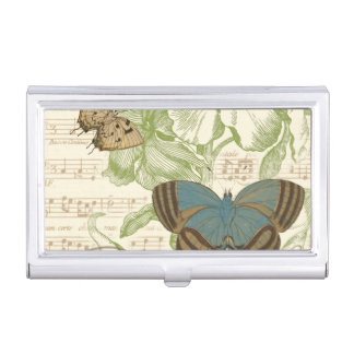 Butterflies on Sheet Music with Floral Design Business Card Holder