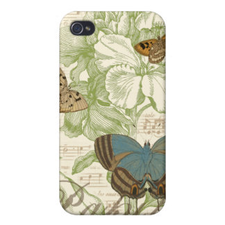 Butterflies on Sheet Music with Floral Design Cases For iPhone 4