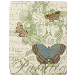 Butterflies on Sheet Music with Floral Design iPad Cover