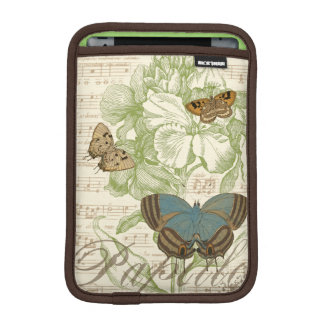 Butterflies on Sheet Music with Floral Design iPad Mini Sleeve