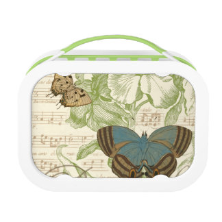 Butterflies on Sheet Music with Floral Design Lunch Box