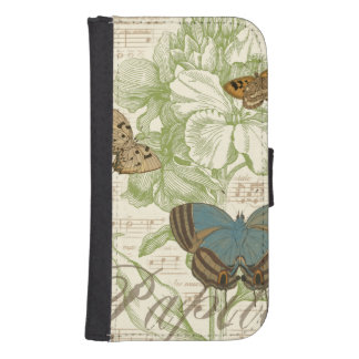 Butterflies on Sheet Music with Floral Design Samsung S4 Wallet Case