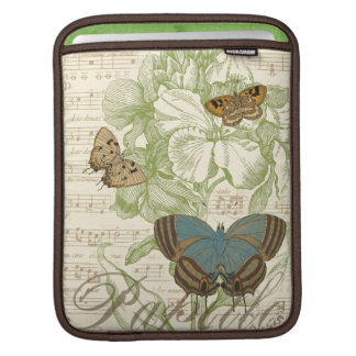 Butterflies on Sheet Music with Floral Design Sleeve For iPads