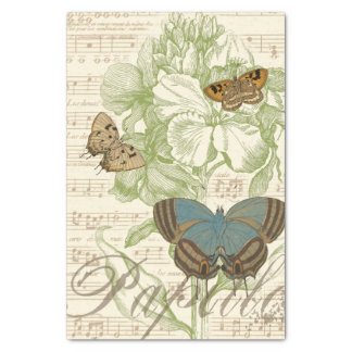 Butterflies on Sheet Music with Floral Design Tissue Paper