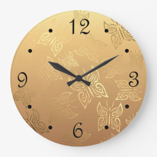 Butterflies Pattern Gold Numbers Large Clock