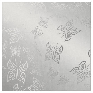 Butterflies Pattern Silver Fabric