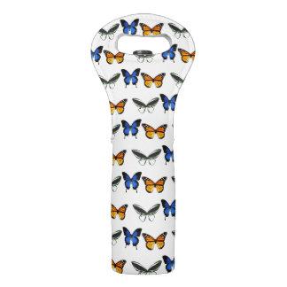 Butterflies Pattern Wine Tote Bag