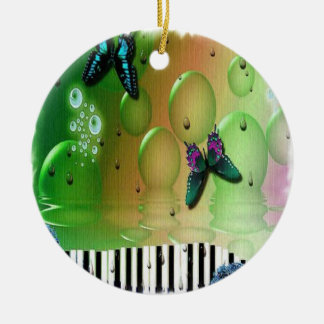 Butterflies Piano Keys Christmas Ornament