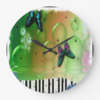 Butterflies Piano Keys Large Clock