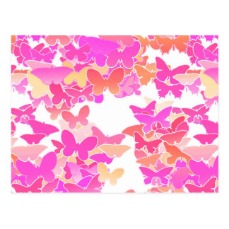 Butterflies, pink, fuchsia and coral postcard