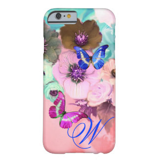BUTTERFLIES,PINK TEAL ROSES AND ANEMONE FLOWERS BARELY THERE iPhone 6 CASE