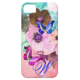 BUTTERFLIES,PINK TEAL ROSES AND ANEMONE FLOWERS CASE FOR THE iPhone 5