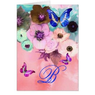 BUTTERFLIES,PINK TEAL  ROSES AND ANEMONE FLOWERS GREETING CARD