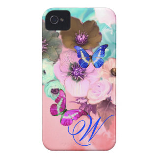 BUTTERFLIES,PINK TEAL ROSES AND ANEMONE FLOWERS iPhone 4 Case-Mate CASES