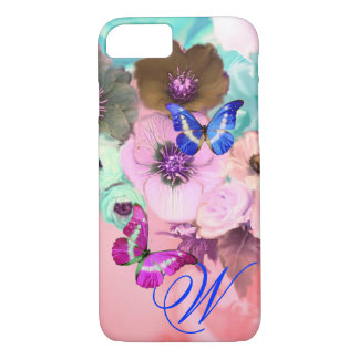 BUTTERFLIES,PINK TEAL ROSES AND ANEMONE FLOWERS iPhone 7 CASE