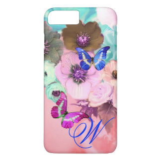 BUTTERFLIES,PINK TEAL ROSES AND ANEMONE FLOWERS iPhone 7 PLUS CASE
