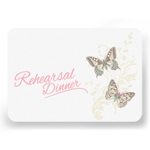 Butterflies pink wedding rehearsal dinner invite