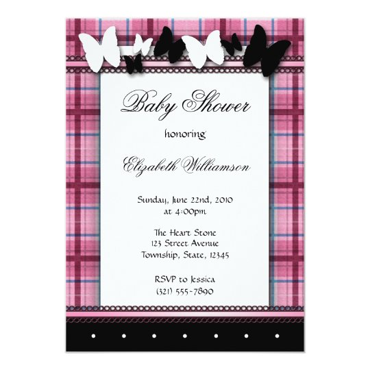 Butterflies & Plaid Baby Shower invitations